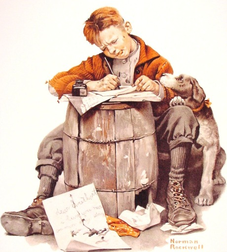 norman_rockwell_little_boy_writing_a_letter